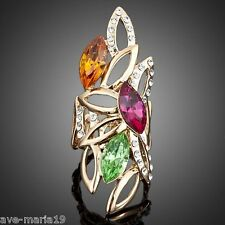 Water Drop Pattern Stellux Austrian Crystal Finger Ring 18K Real Gold Plated