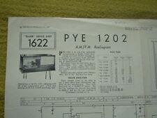 Vintage Trader Service Sheet No.1622 Pye 1202 AM/FM Radiogram 1963 Good Cond