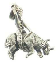 Vintage Deco Sterling Mexico Cowboy Riding Bull Heavy Fob Charm Watch Chain Hold