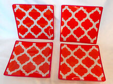 """Serving Glass Trays Decorative Michaels 6"""" x 6"""" x 1/8"""" Thick 4ea Orange/Red 61A"""