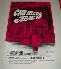 CRY BLOOD, APACHE MOVIE ADVERTISING PRESS BOOK JODY & JOEL McREA WESTERN