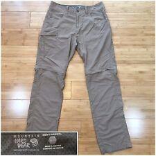 Mens 30x32 Mountain Hardwear Mesa Convertible II Hiking Pants - Khaki Brown