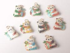 8Pcs Cloisonne Enamel Mixture Colors Panda Charms Beads Pendants