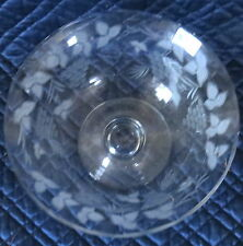 "10"" ROUND FROSTED ETCHED GLASS PEDESTAL  BOWL,DISH,Plate"