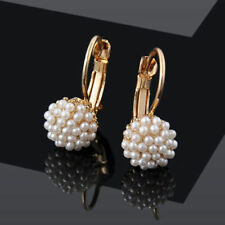 Pretty New Yellow Gold Plated Seed Pearl Cluster Leverback Dangle Drop Earrings