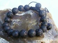 Men's Gemstone oil diffuser beaded bracelet 12mm BLACK ROCK LAVA STONE beads
