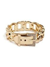 NWT Guess Gold Metal-Clear Rhinestone-Chain Link Hinged Buckle Bracelet