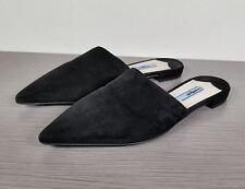 Prada Pointy Toe Mule, Black Suede, Womens Size 5 / 35