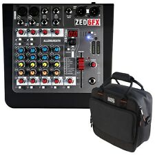 Allen & Heath ZED-6FX Compact Analog Mixer with Gator Mixer Bag +Picks