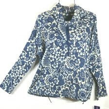 Chaps Women's Fall Blue Floral Cowl Neck Pullover Top Blouse XL NWT