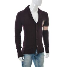 GANT Mens Shawl Button Front Knit Wool Cardigan Sweater Long Sleeve Eggplant M