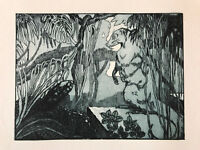 MAURICE DE BECQUE Gravure Eau Forte Art Deco 1930 tortue tortle