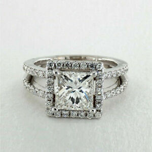 2.70 Ct Princess Moissanite Engagement Rings 14K Solid White Gold Size L M N O P
