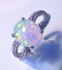 "GORGEOUS WHITE  FIRE OPAL  RING UK Size ""P"" US  8"