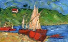 Sailboats In The Harbor  Original Watercolor By F. DeTrolio - Matted To 16 x20