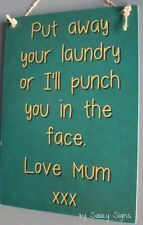 New Mum Laundry Mother Love Shabby Wooden Timber Sign Washing Home Cleaning