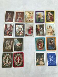 18 vintage playing cards US WIDE Antique LADIES Children BOYS & GIRLS Swap Cards