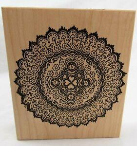 "Rubber Stamp Mandala floral circle doily wood mount 4 3/4"""