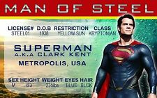 Superman the Man of Steel novelty collectors card Drivers License