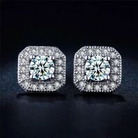 9K  WHITE GOLD FILLED STUD EARRINGS MADE WITH CARAT SWAROVSKI CRYSTALS SQ2