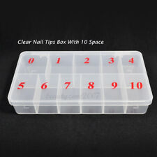 Clear Acrylic Plastic Empty Storage Nail Tips Beads Box Case With 10 Space TOP