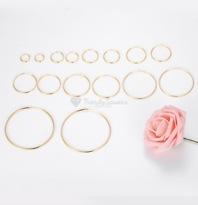 18K Gold On 925 Sterling Silver Cartilage Endless Small Stud Nose Hoop Earrings