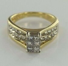 1.00 ctw SI3-I1 J Diamonds 14k Yellow Gold Cluster Ring Size 5.75 (5.65 gr)
