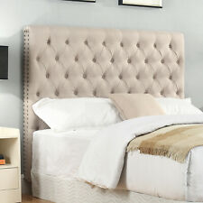 Bed Head Queen Headboard Upholstered Fabric Button Studded Beige Colour Sean