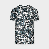 Uomo Mimetico Sub Tee Camouflage Scacchi Couture Sport Stampa USA/UK