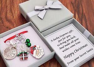 LUCKY SIXPENCE CHARM, SECRET SANTA, CHRISTMAS present, snowflake, GIFT BOX