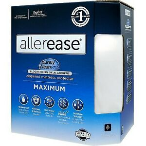 King Maximum Bed Bug and Allergy Mattress Protector White - AllerEase