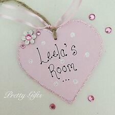 Personalised Girl's Name Room Heart Door Plaque Handmade Gift