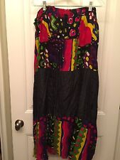 PLUS SIZE Multicolor Drawstring Waist Abstract Long Gypsy Skirt NEW