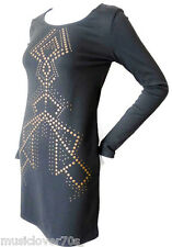 BETTINA LIANO Long Sleeve Embellished Black Shift Dress Size 8 US 4