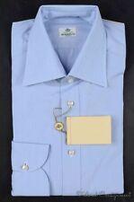 NWT - BORRELLI Solid Light Blue 100% Cotton Mens Luxury Dress Shirt - 16