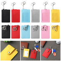 Portable ID Card Holder Bus Cards Cover Case Office Work Keychain Keyring Tool~
