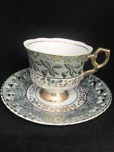 Vintage Lustre Teacup Reticulated Saucer Japan Fine China