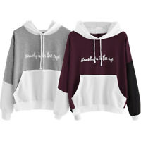 Fashion Womens Letters Long Sleeve Hoodie Sweatshirt Hooded Pullover Tops Blouse