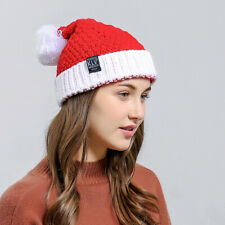 Christmas Santa Hat Beanie Cap Winter Warm Knitted Crochet Ski Hat Windproof Red