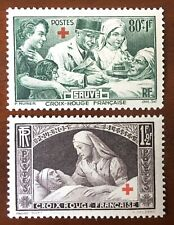 FRANCE 1940 Red Cross Fund pair MLH SG 666 - 667 80c+1Fr, 1Fr+2Fr