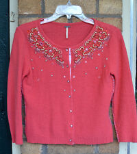 Free People Bejeweled Beaded Wool Cardigan Retro anthropologie Sweater Coral XS