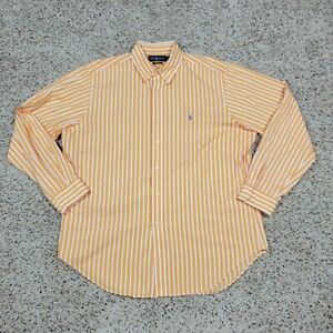Ralph Lauren Button Up Shirt Men 17 34/35 Orange Striped Classic Fit Long Sleeve