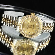 LADIES ROLEX DATEJUST 2TONE 18K YELLOW GOLD BEAUTIFUL DIAMOND WATCH ref.6917