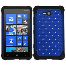 For Nokia Lumia 820 HYBRID IMPACT Dazzling Diamond Case Phone Cover Blue Black