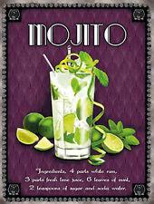 Mojito Cocktail Recipe, Pub Hotel Wine Bar Rum Mint Drink, Small Metal/Tin Sign