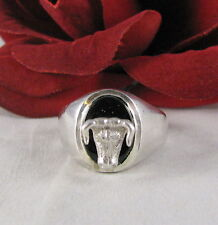 Ring Size 16 Cat Rescue Sterling Silver Ornate Raised Bull Onyx