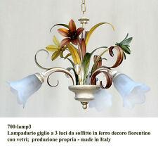 Lustre giglio a 3 lumières de plafond en fer dans la décoration florentine avec