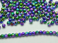 "1000 Peacock Mullti-Color Stardust Acrylic Round Beads 4mm(0.16"") Spacer Finding"
