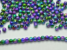 """1000 Peacock Mullti-Color Stardust Acrylic Round Beads 4mm(0.16"""") Spacer Finding"""