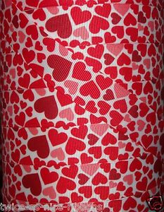 """5 yards 7/8"""" FLOATING RED PINK HEARTS GROSGRAIN RIBBON VALENTINE'S DAY"""